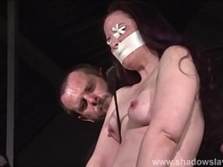 Tit whipping and frontal spanking of slave Caroline Pierce in double domination