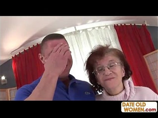 Nasty old granny choking on his cock
