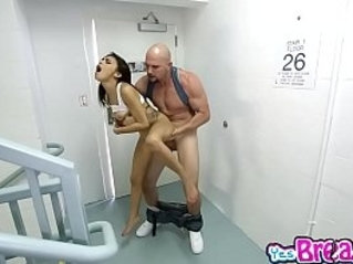 Big thick white cock ravaging that stretched shaved pussy