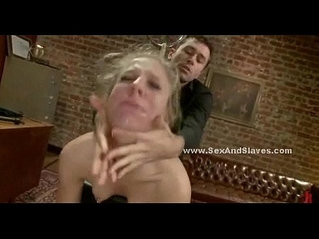 Blonde slave gets brutally fucked in her damp cunt while tied up