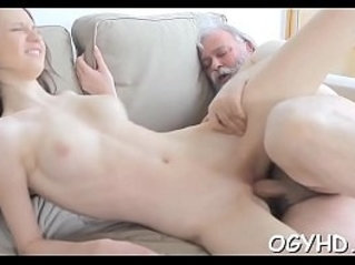 Horny young blonde babe screwed by old lad
