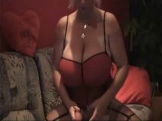 Blonde wife with black monster huge breasts playing with a huge dildo