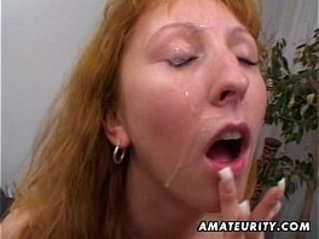Redhead amateur asian Milf double blowjob, anal and double facial cumshots