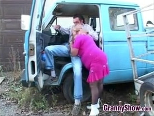 Fat Granny In Pink Fucking Outdoors