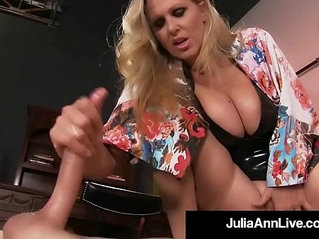 Boy toy gets smothered by glamorous milf julia anns pussy