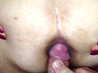Cuming on wide open wifes asshole