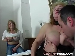 Chubby Granny Share Young Cock With Friend