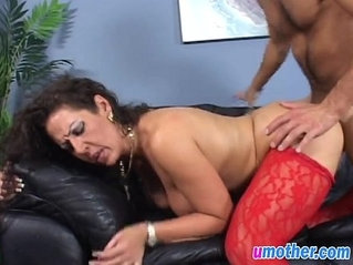 Step mom with big tits banged doggy on couch