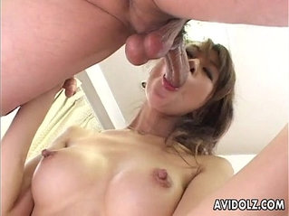 Japanese babe Aki gets her pussy licked and fingered close up Uncensored