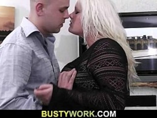 Gorgeous blonde hoe gets doggystyled