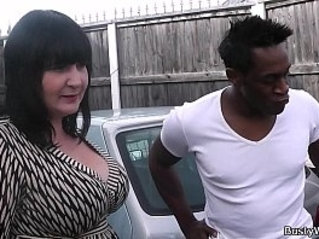 BBW in fishnets swallows black cock at work
