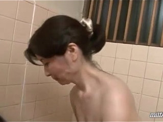 Mature Woman Washing Young Guy Body Sucking Cock In The Bathroom