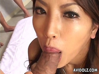 Gorgeous Japanese beauty sucking uncensored