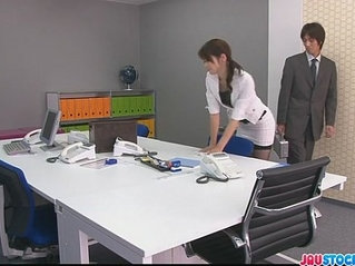 Japanese offce chick gets her cunt fucked hard and loaded with mannaise