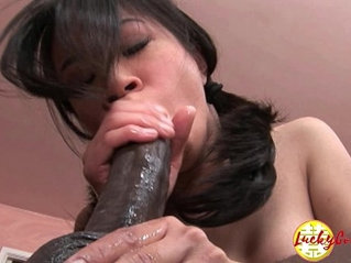 Damn pretty asian fuck her pussy being impaled by huge monster black cock