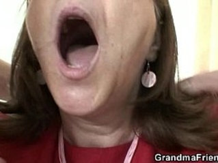 Old bitch takes cocks in the office