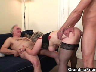 Cock for hungry granny enjoys two dicks